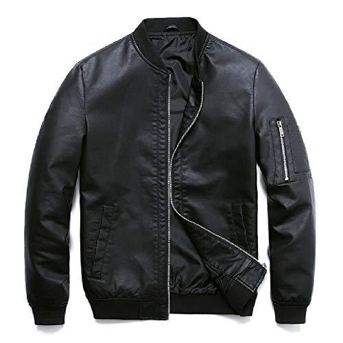 PU Lederjacke für Herren Motorrad Herbst schwarz Bomber Jacke Kunstleder Mantel Kleidung Baseball PU Jacke Gr. XXXXX-Large, Schwarze PU-Jacke