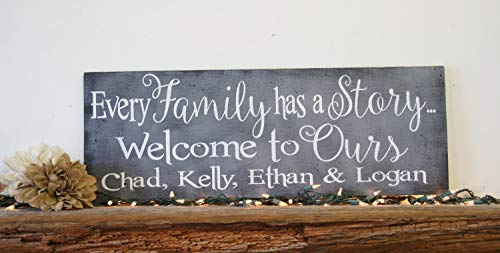 Every Family Has A Story Welcome to Ours Wood Sign Photo Display Wall Handpainted Wood Sign Rustic Shabby Chic Home Decor Wall Art