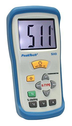 Peak Tech 1Termómetro de canal Digital de 31/2dígitos de 50°C. + 1300°C con tipo K Sonda de temperatura, 1pieza, P 5110