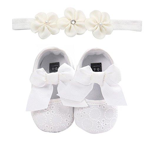 Huhu833 Babyschuhe, 2 Pcs Baby Mädchen Schuh Anti-Rutsch-weiche Sohle Kleinkind Schuhe+ Stirnband (6~12 Month, Weiß 4)