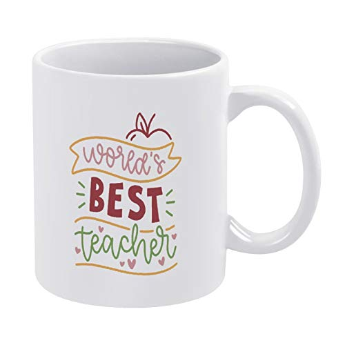 Promini Taza divertida de cerámica de café con taza blanca del mejor maestro del mundo, C1, 15 onzas, gran regalo para amigos y familiares