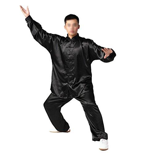 Andux Cinese Tradizionale Tai Chi Uniformi Kung Fu Abbigliamento Unisex SS-TJF01 (Nero,XXL)