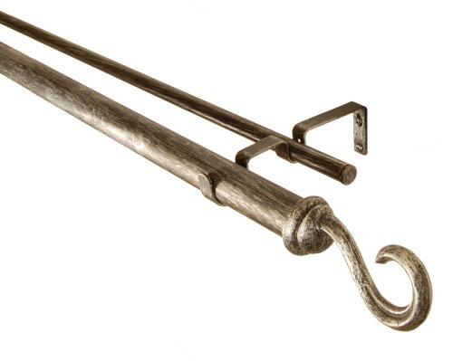 BCL Drapery Hardware 125DHK48S Hook Curtain Rod Set