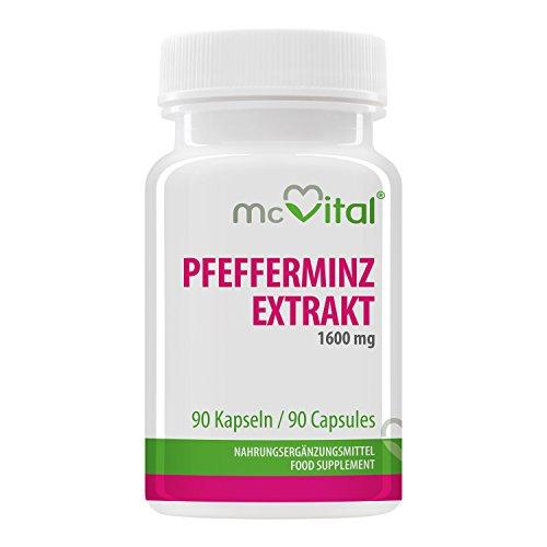 Pfefferminz Extrakt 1600 mg - Bei Magen-Darm-Verstimmungen - Gesunde Verdauung - 90 Kapseln
