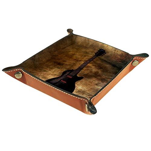 Bandeja de dados de metal con ruedas para juegos de rol, DND y otros juegos de mesa, soporte para dados caja de almacenamiento, tabla de protección, doble cara plegable Sqaure guitarra de cuero PU