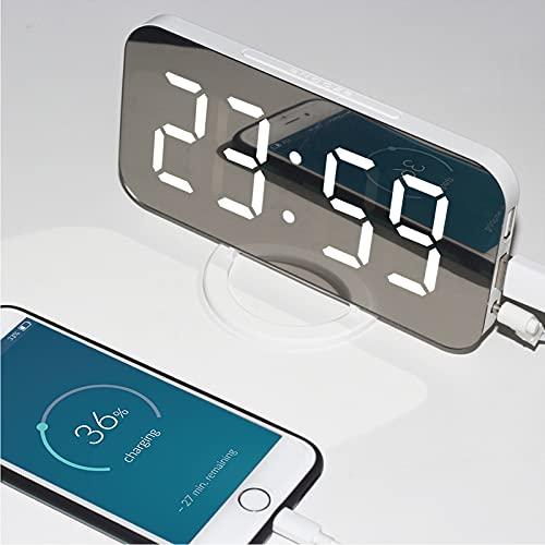 QBOHAN Elektronischer Spiegelwecker,digitaler LED-Wecker,Tischuhr dimmbarer Schlummerwecker mit 2 USB-Ladeanschlüssen
