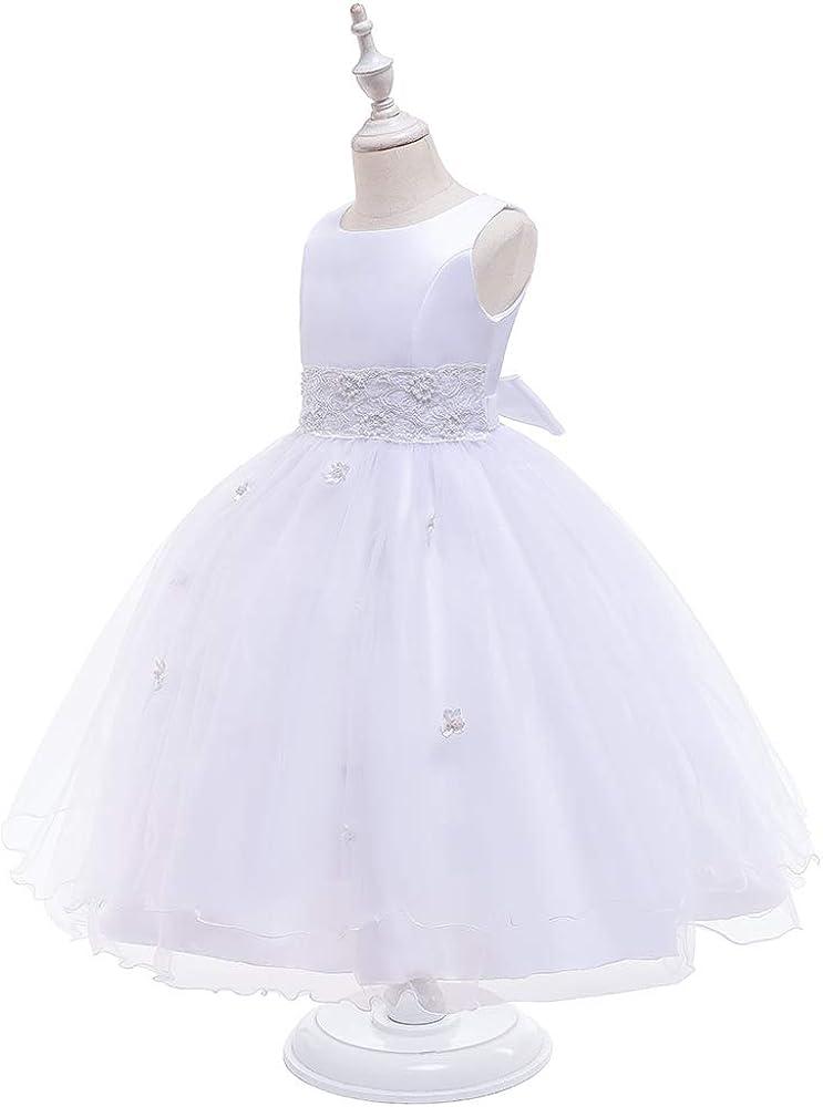 Graceful First Communion Dress Girls Sleeveless Princess Dresses White Dress