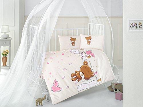 Ours en peluche V1 Rose Lit Bébé Housse de couette de lit, 100% coton doux et Sain Parure de lit 4 pièces