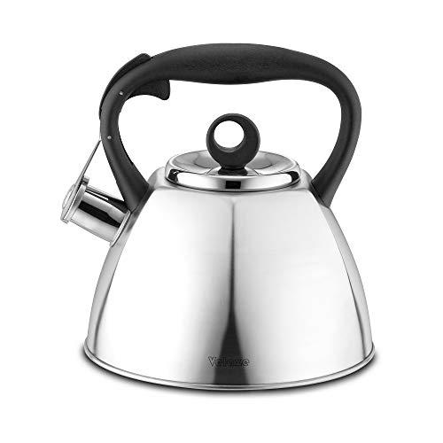 Velaze Wasserkessel aus Edelstahl, Flötenkessel Teekessel Wasserkocher für Herd, Kessel für Tee Coffee Saft