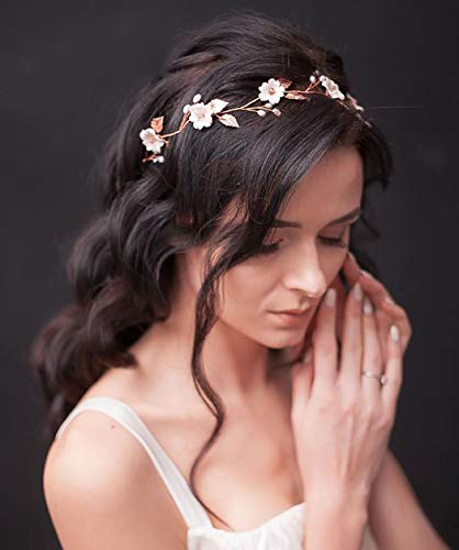 Unicra Braut Hochzeit Haar Rebe Blume Stirnband Perle Kopfschmuck Braut Haarschmuck für Frauen (Silber)