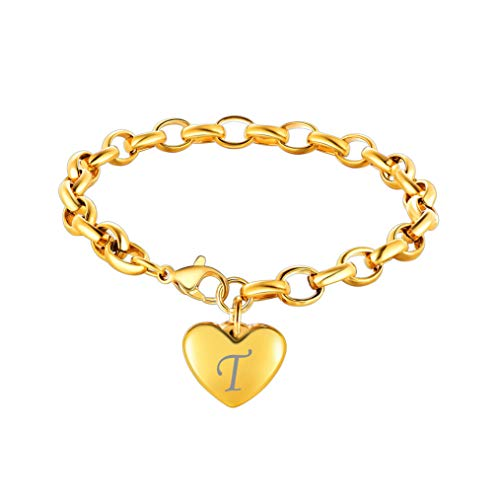 Bandmax Stainless Steel 18K Gold Hollow Link Chain Bracelets 8.7inch,Engraved Personalized T Letter Alphabet Heart-Shaped Metal Charm Bracelets Jewelry for Mom Women Girl