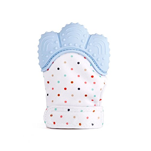 ZOSHING Baby Teething Mitten, Baby Teething Glove, Self Soothing Teether & Teething Pain Relief Toy for Baby 100% Food Grade BPA Free- Age 3-12 Months(Pastel Blue)