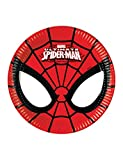Procos 86669–Platos Papel Ultimate Spider Man power, Ø20cm, 8piezas, rojo/negro