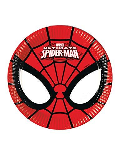 Ciao Procos 86669.–Teller Papier Ultimate Spider Man Power, Ø20cm, 8Stück, rot/schwarz