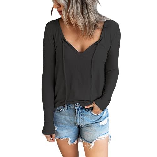 guiyuan otoño Mujer Color sólido cordón con Cuello en V suéter de Lana Camisa de Fondo suéter Mujer Negro M