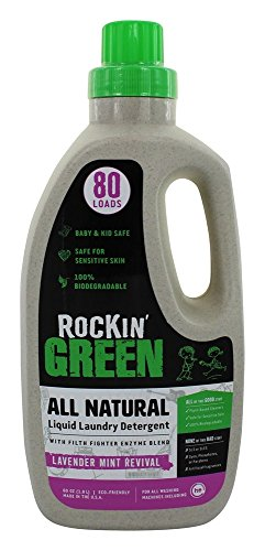 Natural Liquid Laundry Detergent by Rockin' Green, Gentle Yet Powerful Laundry Soap, HE Rated - Up to 80 Loads Per Bottle, Lavender Mint (60 oz)