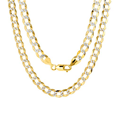 Nuragold 10k Yellow Gold Solid 7mm Cuban Chain Curb Link Diamond Cut Pave Two Tone Necklace, Mens Jewelry Lobster Lock 20' 22' 24' 26' 28' 30'