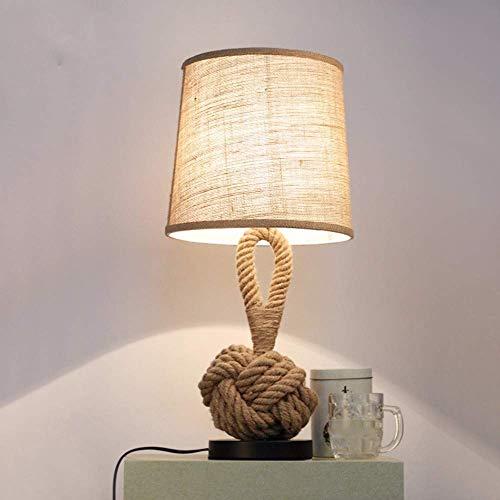 NF cáñamo Cuerda Retro Mesa lámpara Creativa Dormitorio mesita de Noche Moderna Minimalista Moda Mesa lámpara Aprendizaje café Tienda Tela decoración lámpara de Mesa