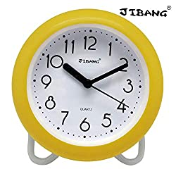 JIBANG Waterproof Bathroom Clock, Desktop Clocks for Bathroom, 7 Inches Silent Non-Ticking Prevent Mist Wall Clock Yellow