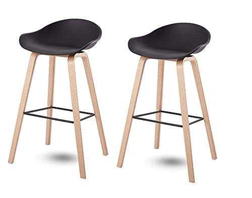 N/A Skycity Set de 2 encimeras de Cocina taburetes de Bar sillas, taburetes de Bar en casa Patas de Metal taburetes Negro