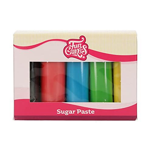 FunCakes Pasta di Zucchero Multipack Essential Colours: liscio, flessibile, morbido e pieghevole, halal, kosher e senza glutine. 5 colori: giallo, verde, blu, rosso, nero. 5 x 100 g - 500 g