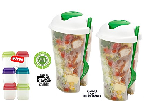 Fresh Salad To Go Serving Cup - FREE 6 Piece Set of Portion Packers and Bonus Recipes - Salad Shaker With Dressing Container Fork