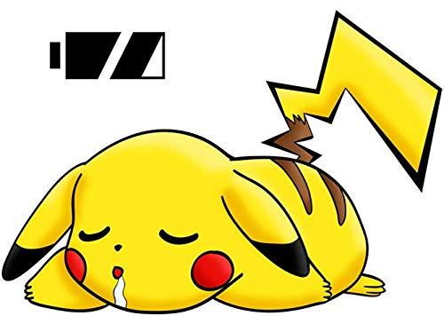 Okiwoki T-Shirt Noir Pokémon parodique Pikachu : Batterie complètement à Plat ! (Parodie Pokémon)
