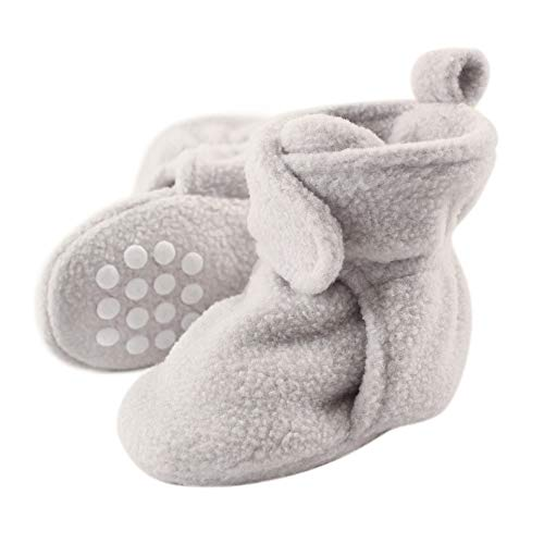 Luvable Friends Unisex Baby Cozy Fleece Booties, Gray, 0-6 Months