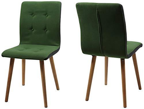 AC Design Furniture Stuhl Charlotte, B: 43 x T:55 x H: 88 cm, Stoff, Grün