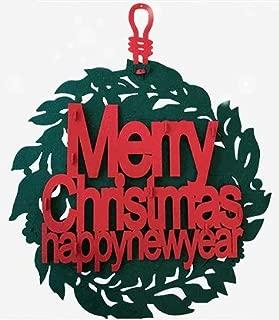 Senhui 15 Inch Christmas Decorations Wreath- Merry Christmas Happy New Year Sign - Xmas Decor Wreath for Home Wall Door Shopwindow