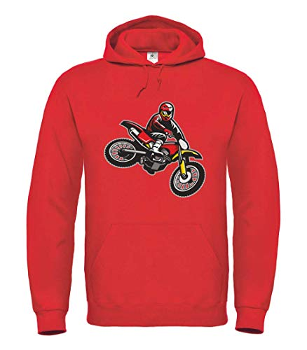 Druckerlebnis24 Hoodie - Springen Enduro Motocross Motorrad - Kapuzenpullover Unisex für Kinder - Junge und Mädchen