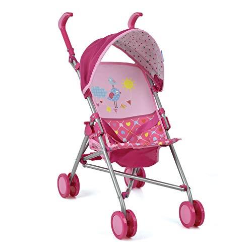 Hauck Puppenbuggy Drive Sun mit Spielzeugkorb, Sonnenverdeck und Gurtsystem - Klappbarer Puppenwagen mit Doppelräder - Birdie Pink
