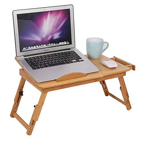 hollylife Mesa Soporte Plegable de Bambú para Portátil 50x30cm, Alturas Ajustable y Sujeción Fuerte, Mesita para Escribir Dibujar Leer en Cama Sofá
