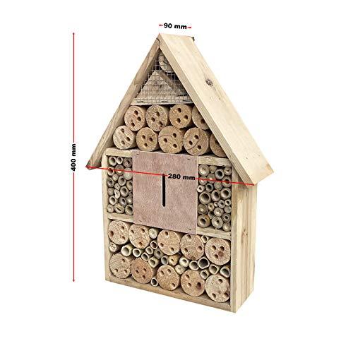 Insektenhotel hängend 280 x 90 x 400 mm, naturbelassene Nisthilfe für verschiedene Insekten