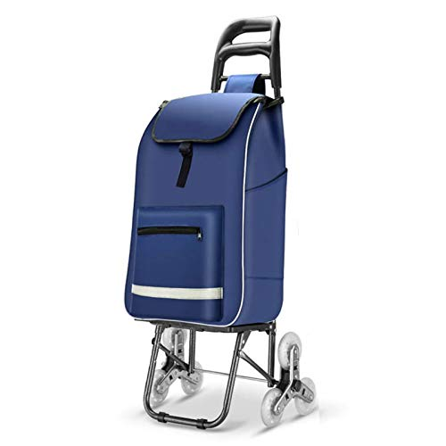 Home Portable Trolley Trailer para Los Ancianos, Plegable Carrito De Compras 6 Ruedas, Carro De Comestibles Ligero Impermeable Negro (Color : Blue)