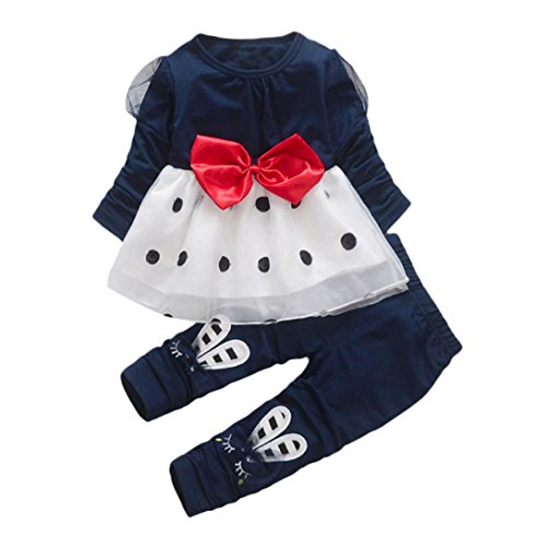 Amlaiworld Baby Mädchen Langarmshirt Flickwerk Punkte Tutu + Kaninchen Hose Kleinkind Bowknot warm Kleider Set,1-4 Jahren (1 Jahren, Blau)