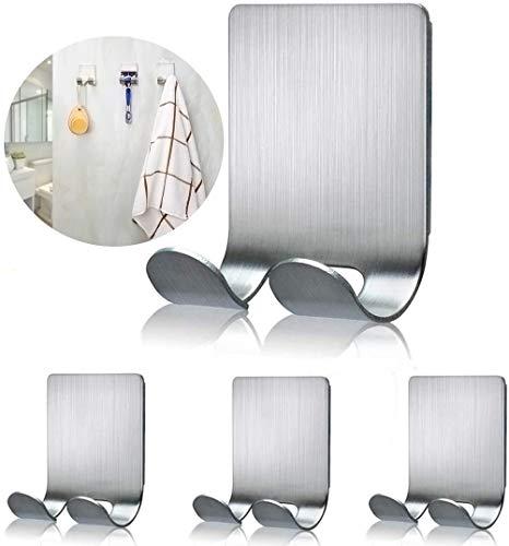 Fotosnow Razor Holder for Shower Wall Adhesive Shower Hooks Shaver Holder Hanger Stand Stainless Steel Utility Hook Bathroom Kitchen Organizer-4 Packs