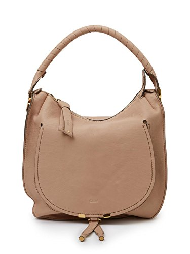 """features luxurious calfskin leather and suede with gold tone hardware. Dimensions: 12""""(L), 12""""(H), 4""""(D), 7.5"""" handle drop Color: Nude Beige"""