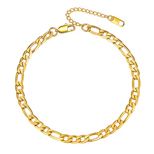 PROSTEEL Anklet for Women Gold Plated Dainty Figaro Ankle Chain Mens Ankle Bracelets