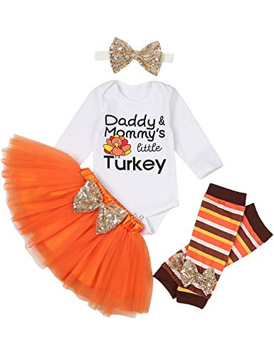 My First Thanksgiving Newborn Baby Girls Clothes Romper Top Bow Tutu Short Skirt with Headband Dress Outfit Set(0-3 Months)
