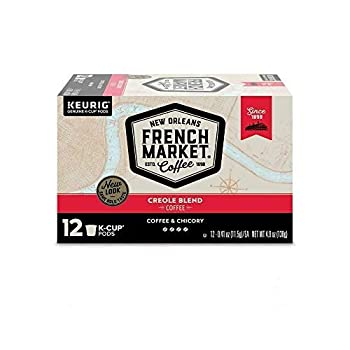 French Market Coffee Single Serve K-Cups Medium Dark Roast Coffee and Chicory 4.9oz Box  Pack of 3  Packaging may vary