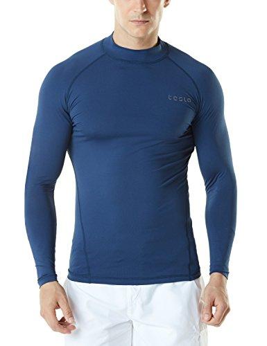 TSLA Men's UPF 50+ Long Sleeve Rash Guard, UV/SPF Quick Dry Swim Shirt, Water Surf Swimming Shirts, Basic Guard Navy, XX-Large