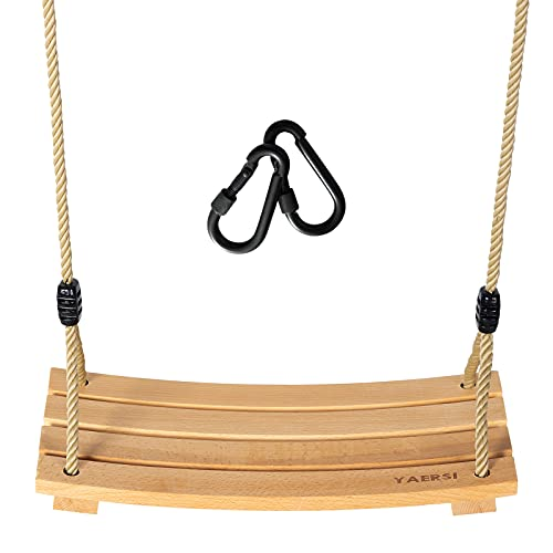 YAERSI Wooden Tree Swings Children Adult Kids Wood Swing Seat with Adjustable Rope 220lbs Load Wooden Swing Set for...