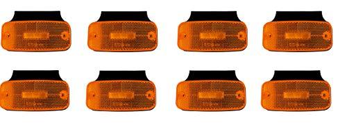 8x 12/24V LED Orange Begrenzungsleuchten mit Halterung Seitenleuchten E9 Prüfezeichen Positionsleuchten LKW Anhänger Träger Wohnwagen