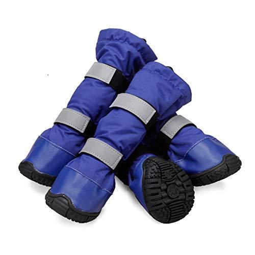 Pet Leso® Hund wasserdichte Stiefel Haustierschuhe für mittlere bis große Hunde für verschneite oder regnerische Wetter-Blau,XL