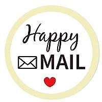 優れた丸型ハッピーメールステッカー、2インチの赤いハート/ハッピーメールラベル - 包装封筒シールステッカー 小規模ビジネス、オンライン小売業者、小屋などに。 (504点)(2インチ)。