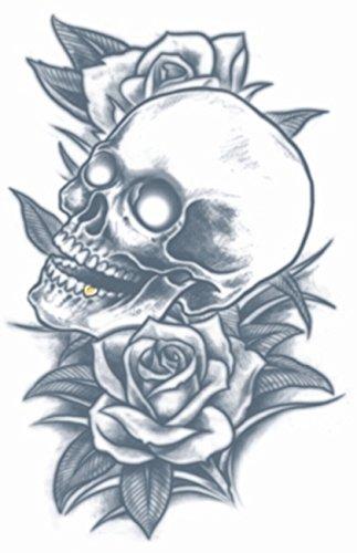 Tinsley Transfers Skull & Roses Prison Temporary Tattoo TT-PR314