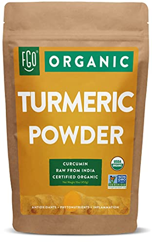 Organic Turmeric Root Powder w/ Curcumin   Lab Tested for Purity   100% Raw from India   16oz/453g (1lb) Resealable Kraft Bag   by FGO