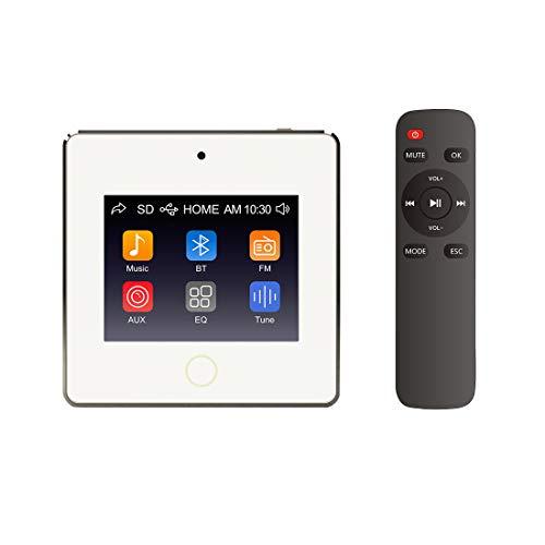 HELMER Controlador de Volumen del Receptor Bluetooth de Montaje en Pared, Amplificador de Audio estéreo de Pared con Pantalla táctil, Sistema de Altavoces domésticos, Blanco, L60