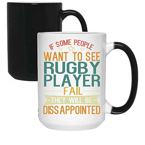 The Time Warden Athlete Gift - Rugby Player Changing Mug Ceramic (Black, 15 OZ)